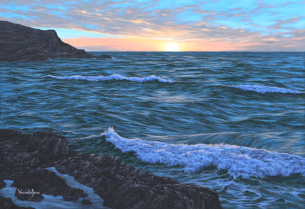 """A Sunset Over Fistral, Cornwall"" 110cm X 160cm Oil On Canvas"