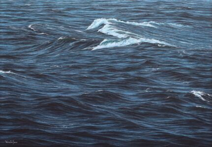 """""""Breakers in the Celtic Sea Swell"""" 70cm X 100cm Acrylic On Canvas"""