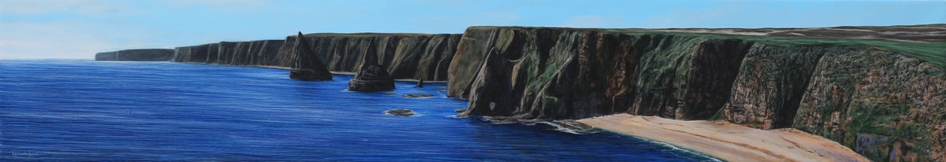 """Duncansby Stacks"" 20cm X 120cm Acrylic On Canvas"