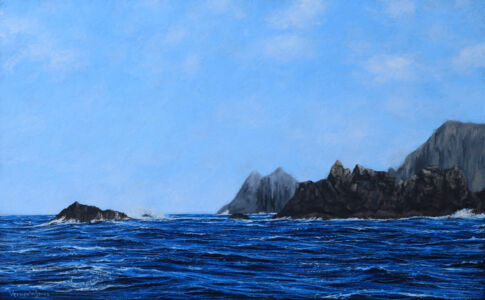 """""""Journey To The Isles Of Scilly Past Lands End"""" Oil On Panel 25cm X 40cm"""