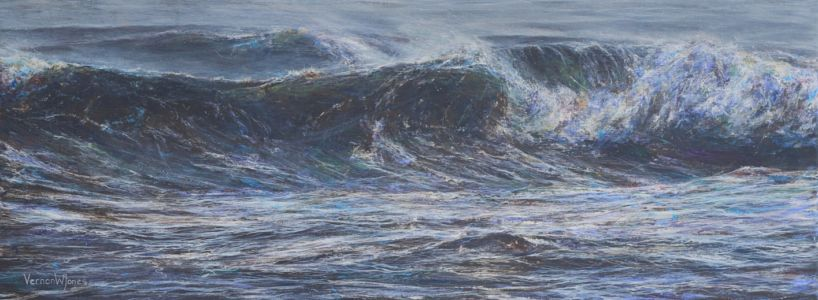 """Last Big Waves Of The Storm, Southerndown"" 36cm X 99cm Acrylic On Canvas"