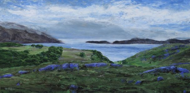 """Loch Sheildaig and distant Mountains"" 60cm X 120cm acrylic on canvas"