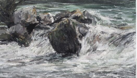 """""""Rock barrier at Matka (detail)"""" 15.8cm X 28.2cm Oil on canvas panel (onsite)"""