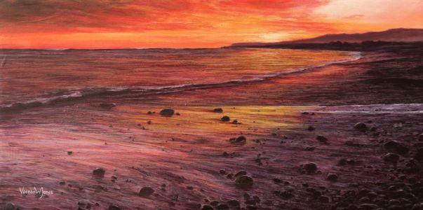 """Setting sun"" 30cm X 60cm acrylic on canvas"