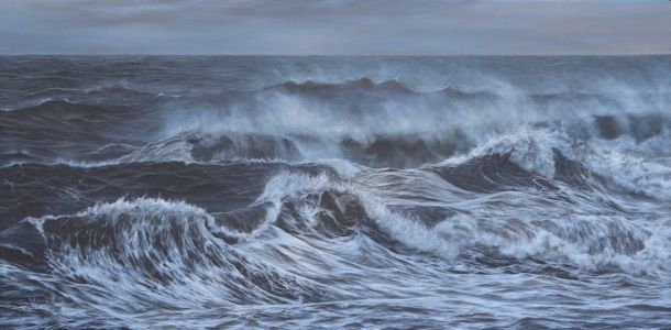 """The Last Of The Storm At Southerndown"" 58cm X 118cm Acrylic On Canvas"