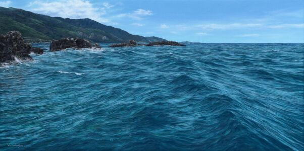 """""""Turquoise Sea With Rocks And Mountains"""" 50cm X 100cm Oil On Canvas"""