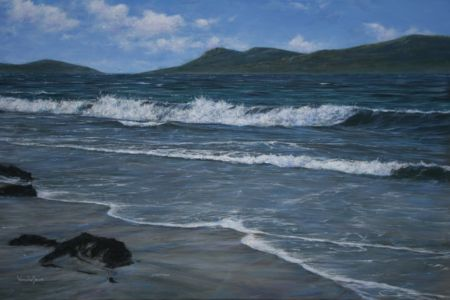 """Outer Hebridean shore"" 80cm X 120cm acrylic on linen"