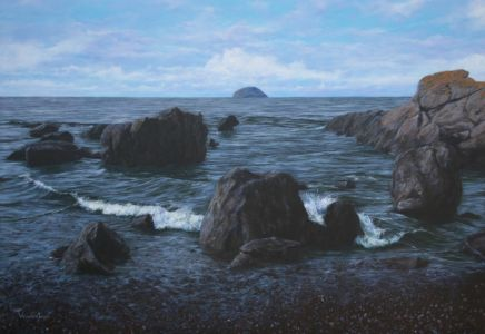 """Passing between the rocks at Girvan"" 110cm X 160cm acrylic on linen"