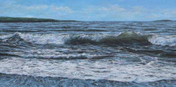 """ Shoreline wave based on w.Wales"" 60cm X 120cm acrylic on canvas"