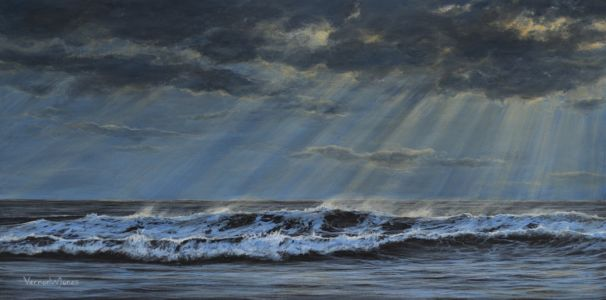 """Study of sunset over Porthcawl 4"" 30cm X 60cm acrylic on canvas"