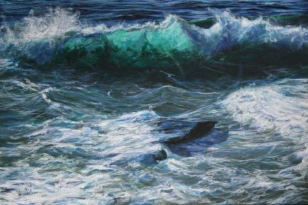 """Trebarwith Wave"" 80cm X 120cm acrylic on linen"