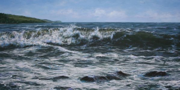 """Tumbling wave Scottish Highlands"" 60 X 120cm acrylic on linen"