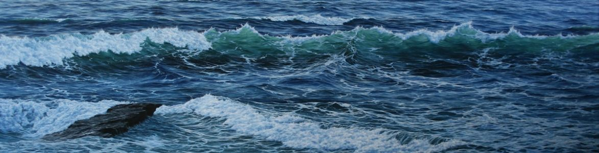 """Song Of The Surging Sea"" 60cm X 240cm oil on canvas"