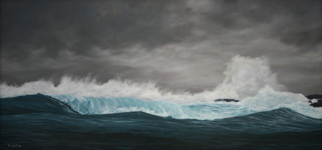 """Storm Blows In Over Skye"" 47.5cm X 100cm oil on canvas"