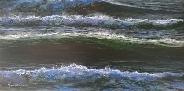 """Swansea winter waves"" 20cm x 40cm acrylic on canvas"