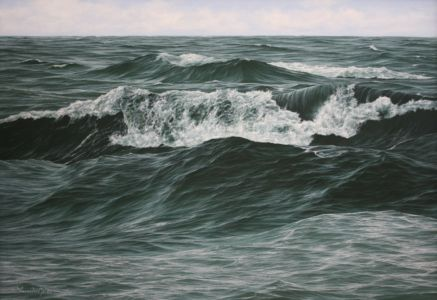 """The Race For The Shore"" 55cm x 80cm oil on canvas"