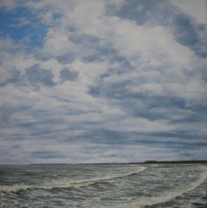 """Towering Clouds Over Porthcawl"" 60cm x 60cm oil on canvas"