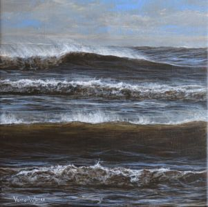 """Winter sea at Swansea"" 30cm x 30cm acrylic on canvas"